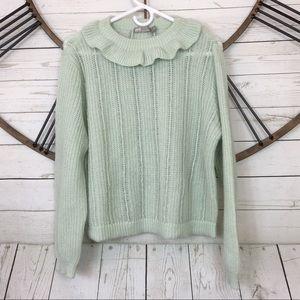 Asos Mint Green Sweater Knit Ruffle Neckline Sz 8